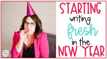 Woman in pink jacket with party hat and noisemaker for Starting Writing Fresh in the New Year cover image