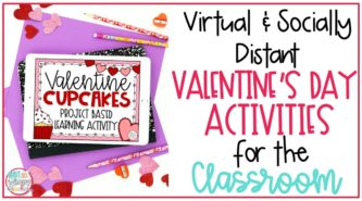 Cover image for Virtual and Socially Distant Valentine's Day Activities showing Valentine Cupcakes Cover on iPad