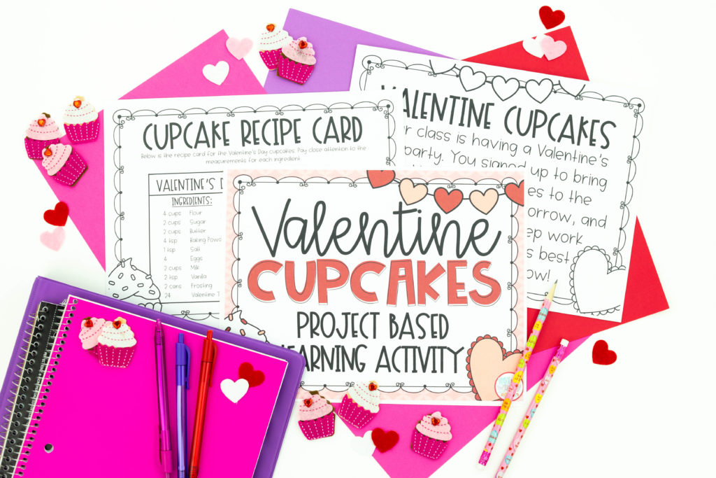 Printable pages of Valentine Cupcakes project based earning activity with notebooks, pencils, pens and cupcakes