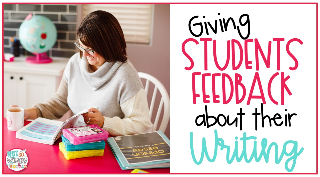Teacher with coffee sitting at desk looking at a book cover image for giving students feedback about their writing