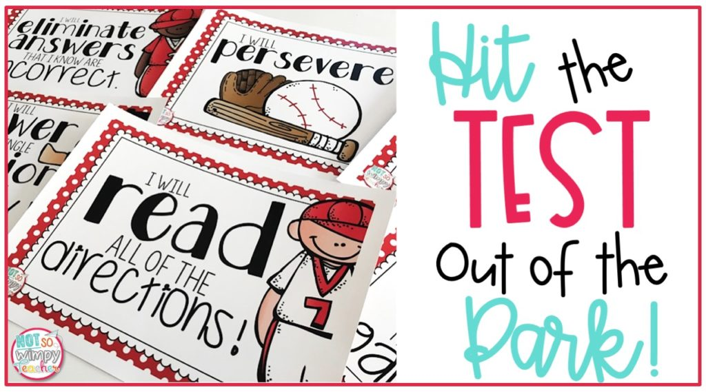 Hit the test out of the park test prep tips cover image with printable pages with positive testing strategy statements with baseball players, a bat, glove, and ball