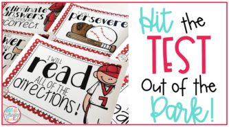 Printable pages with positive testing strategy statements with baseball players, a bat, glove, and ball