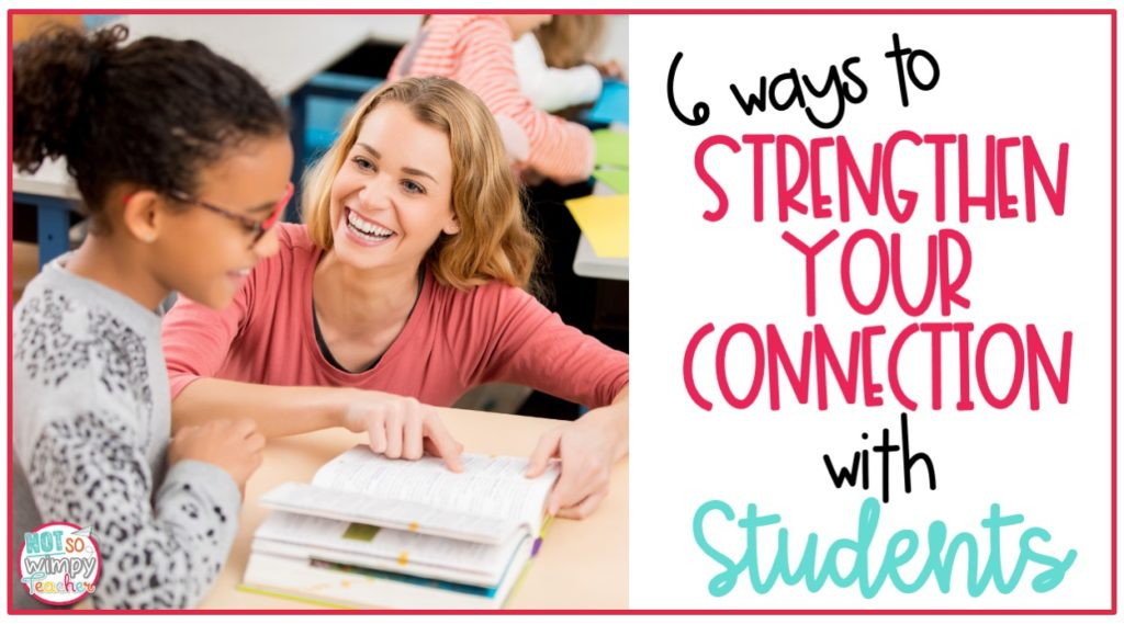 Teacher kneeling at student desk looking at book together cover image for 6 ways to strengthen your connection with students