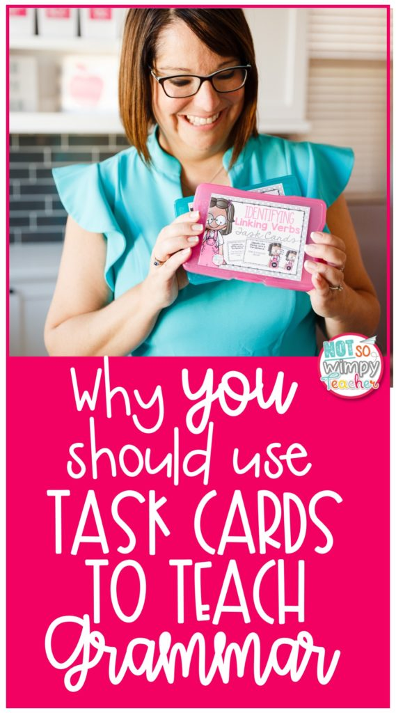 Pin image of teacher in teal top holding up task cards to teach grammar