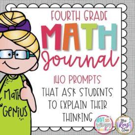 Blonde girl in green math genius dress 4th grade math journal cover