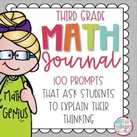 Third Grade Math Journal Cover with Blonde Hair Girl wearing a Math Genius Dress