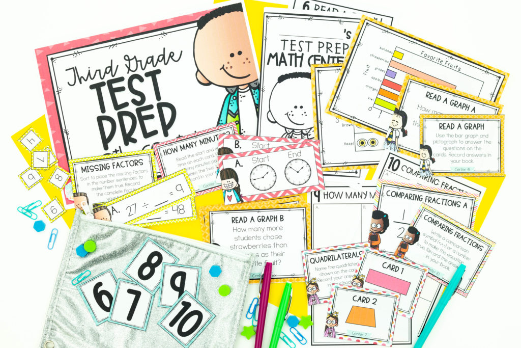 Math Test prep centers with geometry, fractions, time, graphing and more