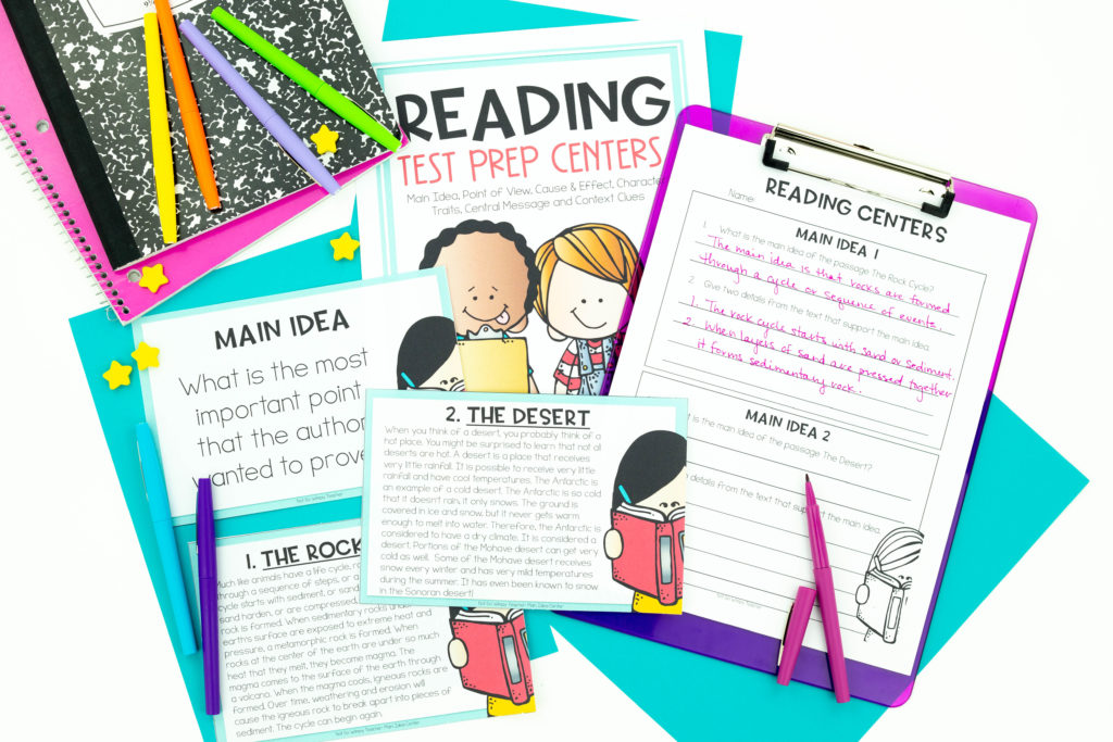 third grade reading test prep center printable