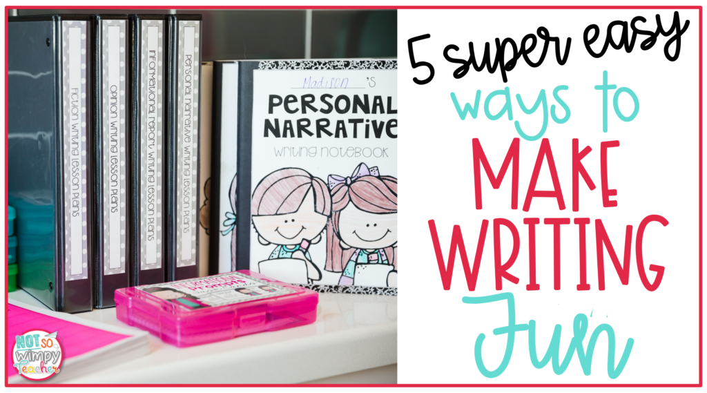writing binders on shelf with personal narrative writing notebook and pink task card box