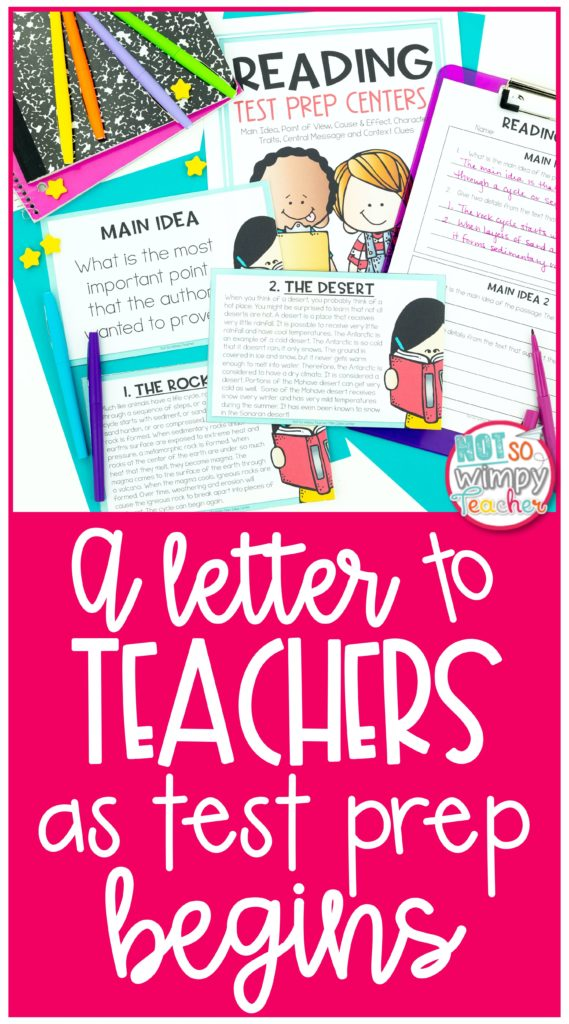 Pin for a letter to teachers as testing season begins