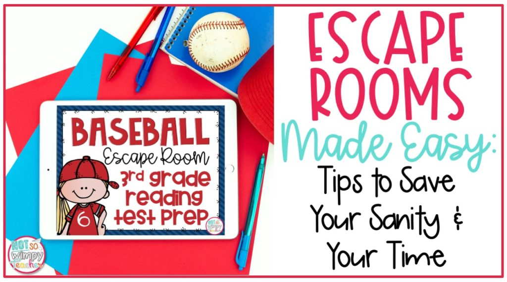 Escape Rooms made easy cover image featuring Baseball Escape Room 3rd grade reading test prep on white iPad