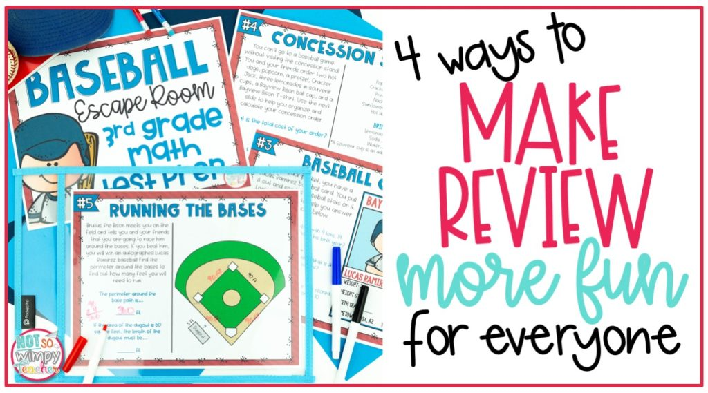 Printable baseball escape room pages on cover image of 4 ways to make review more fun for everyone