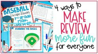 Printable images of Baseball Escape room 3rd grade test prep for math