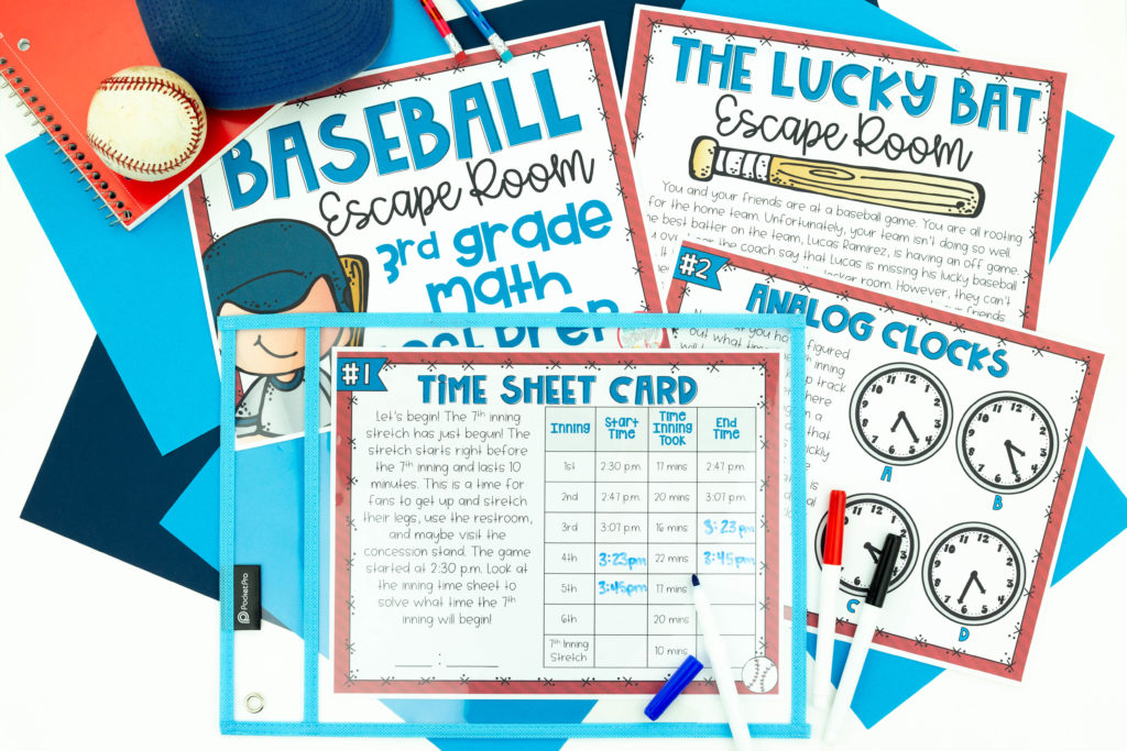 Printable images of Baseball escape room for test prep - a great way to make review more fun