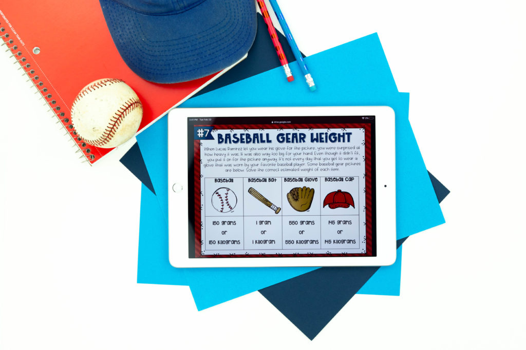 Equipment estimation activity in math baseball escape room on white iPad with ball, hat and pencils