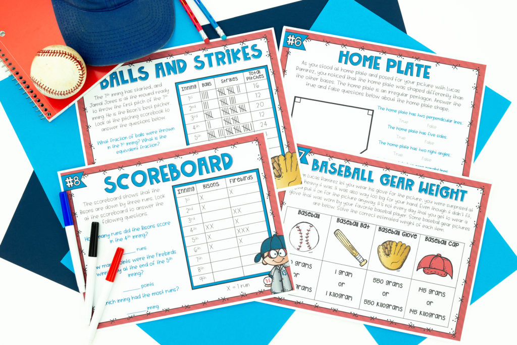 Printable pages to laminate from Baseball escape room mat activity
