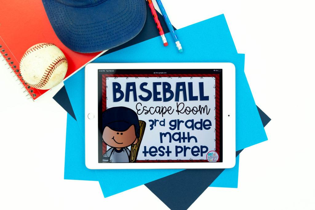 Baseball escape room cover on white iPad