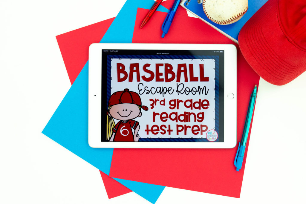 Baseball reading test prep escape room cover on white iPad