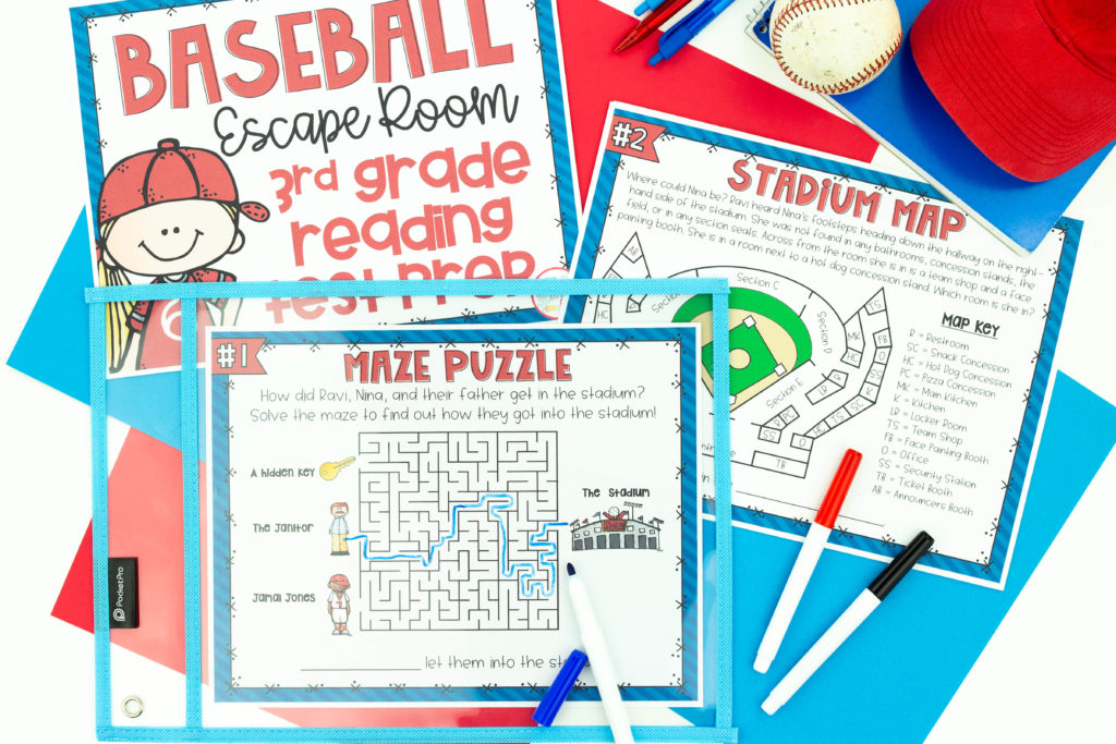 Printouts of baseball reading test prep activity with red, blue and black markers