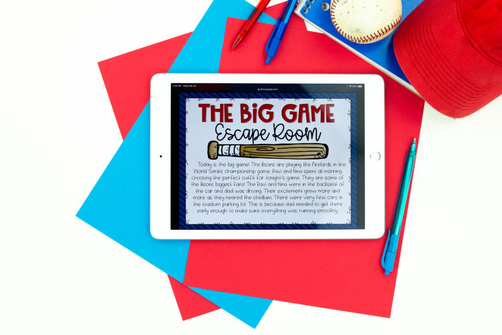 The Big Game introduction to baseball reading escape room