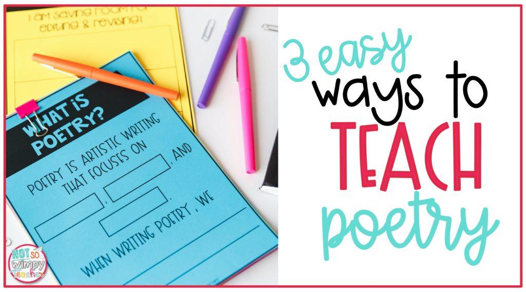 Blue poetry printable worksheet  cover image of 3 Easy Ways to Teach Poetry