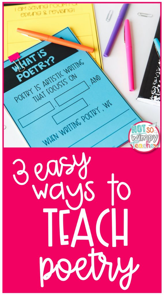 3 Easy Ways to Teach Poetry Pin with blue worksheet and colorful flair pens