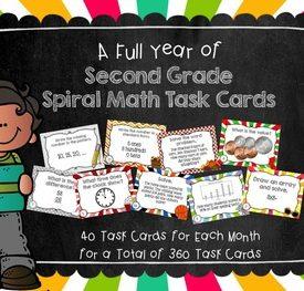 Second Grade Spiral Math Task Cards