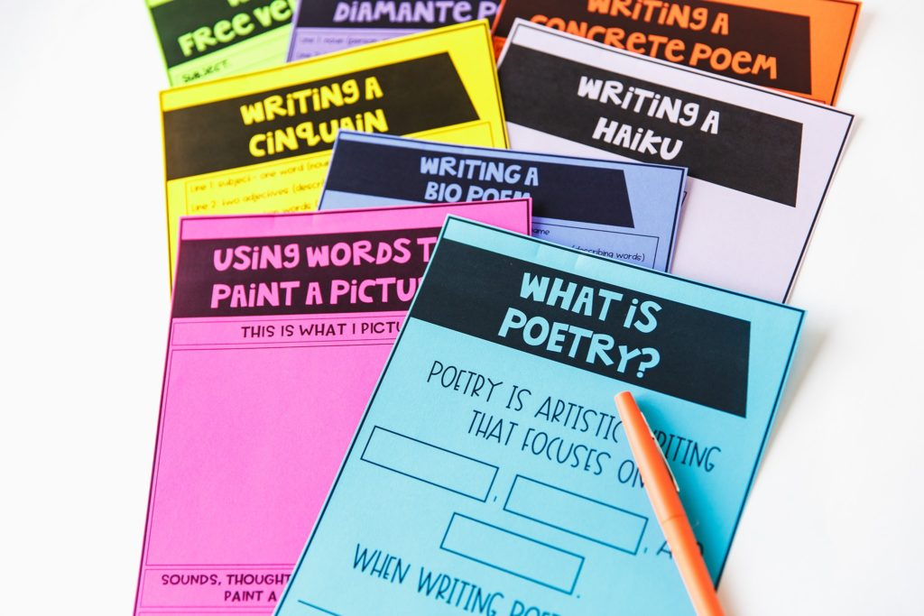 colored papers from how to teach poetry unit