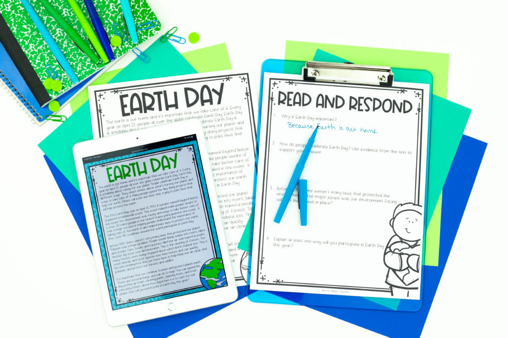 Earth Day resource printable and on iPad with green and blue paper