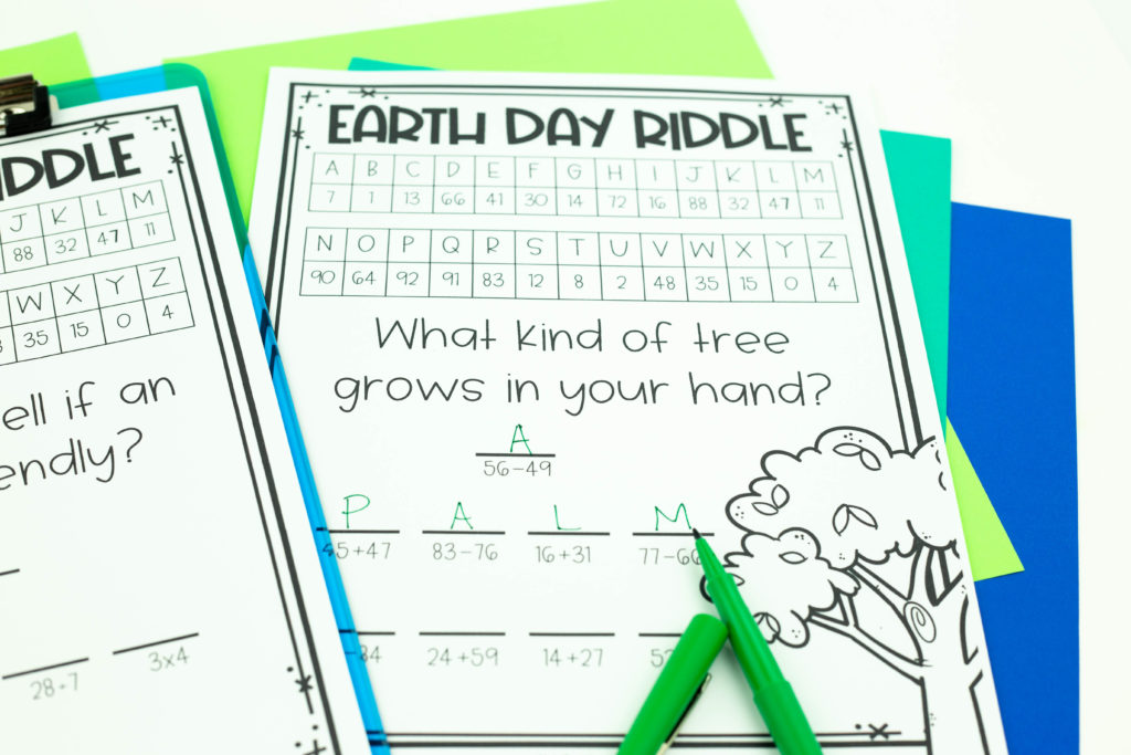 Earth Day riddle with green flair pen