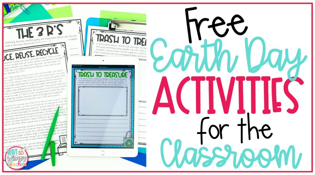 Cover image for Free Earth Day Activities for the classroom showing printable and digital activities