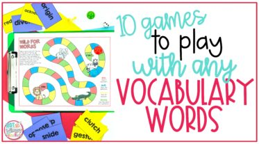 Cover image showing a printable game for Ten games to play with any vocabulary words
