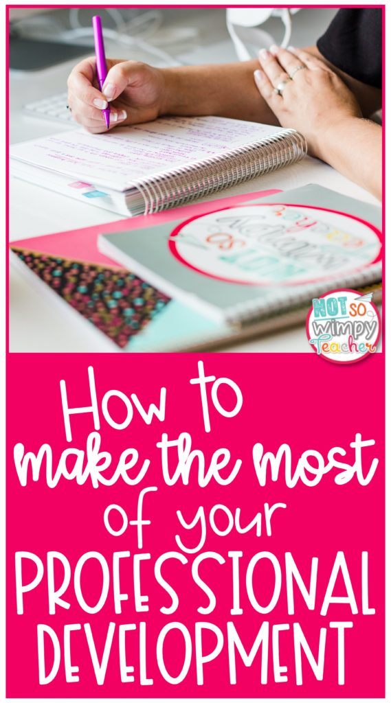 Pin for How to Make the Most of Your Professional Development showing planners and a woman's hands