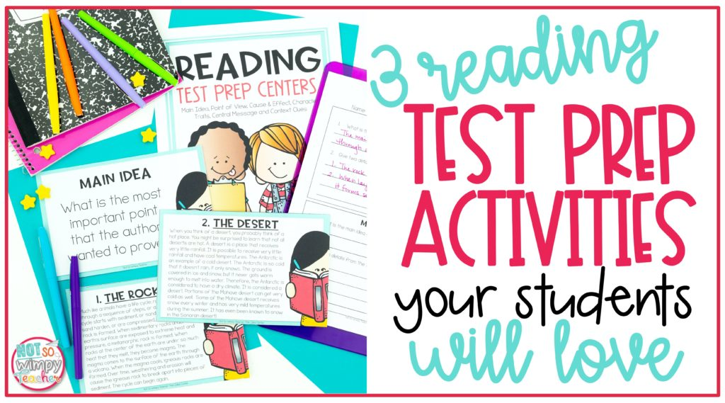 Cover image for 3 reading test prep activities your students will love showing reading test prep centers with task cards, notebooks and flair pens