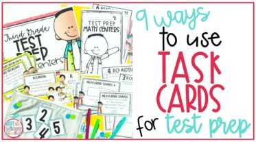 9 Ways to use task cards for test prep cover image with a variety of task card materials