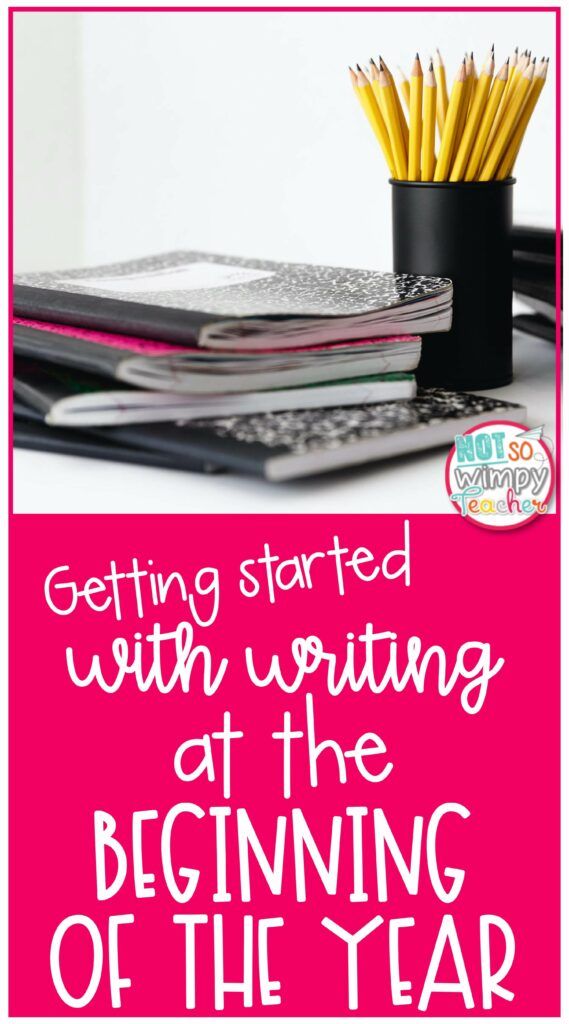 Pin for Getting Started with writing workshop in the beginning of the year with notebooks and pencils in cup