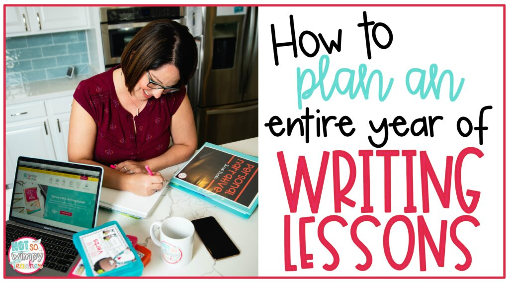 Cover image for How to Plan an Entire Year of Writing Lessons teacher sitting at kitchen counter with binders, laptop, coffee cup and iPhone