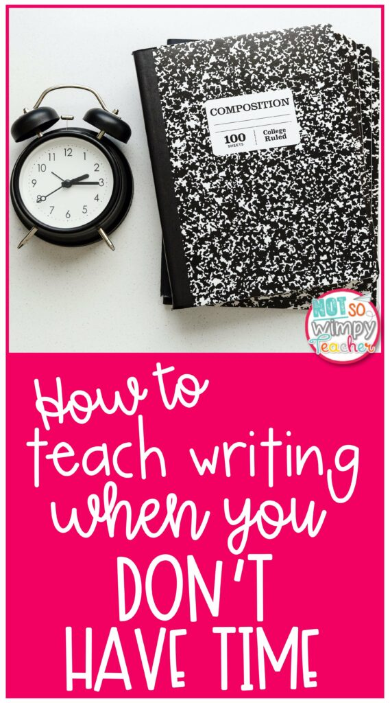 Pin for How to teach writing when you don't have time featuring composition notebook and alarm clock