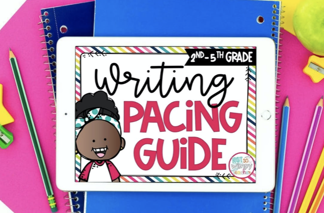 Writing Pacing Guide for Grades 2-5 on white iPad