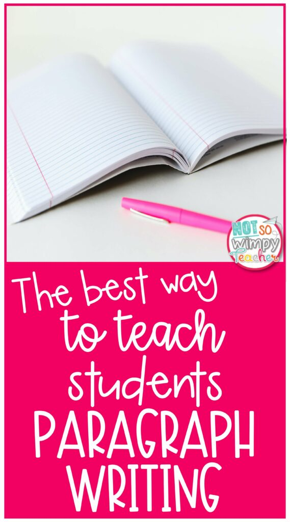 Pin for The Best Way to Teach Students Paragraph Writing with a blank notebook and pink pen on a table