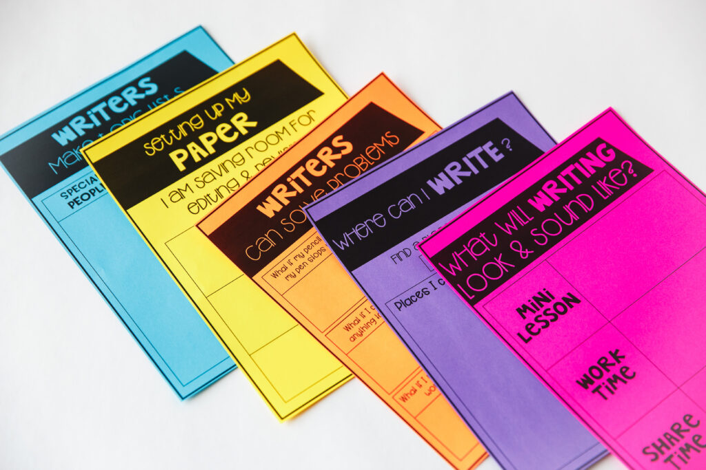 multicolored papers for writing workshop