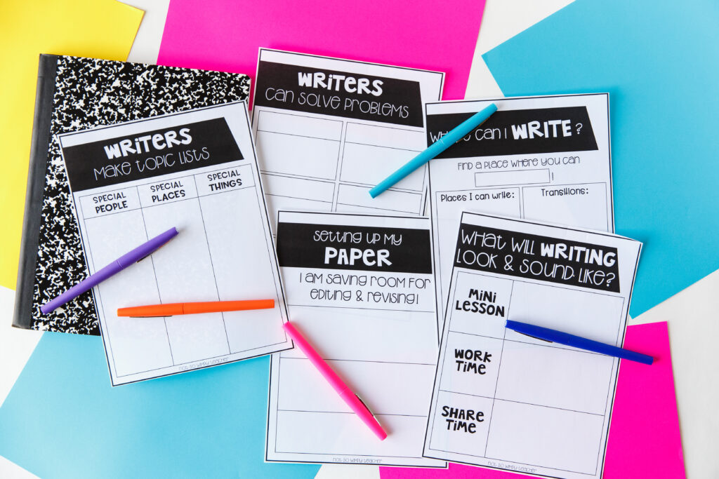 Worksheets from how to get writing workshop started