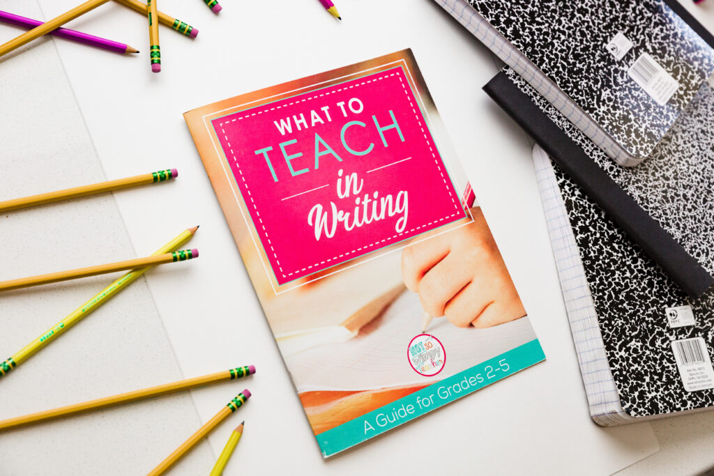 What to Teach in Writing Guide provides a great alternative to writing craftivities,  shown with pencils and notebooks
