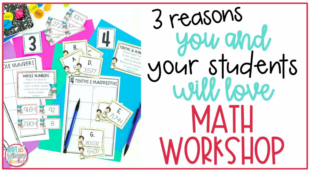 Math Task cards and answer sheets on cover image of 3 Reasons You and Your Students Will Love Math Workshop