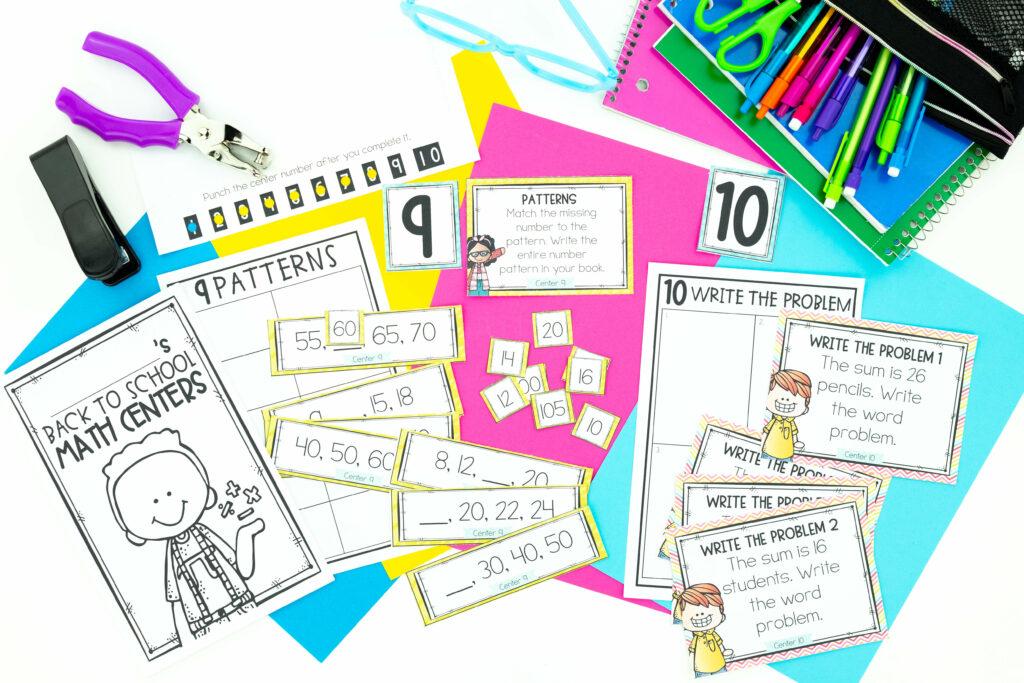 Back to school math center activities make math workshop easy