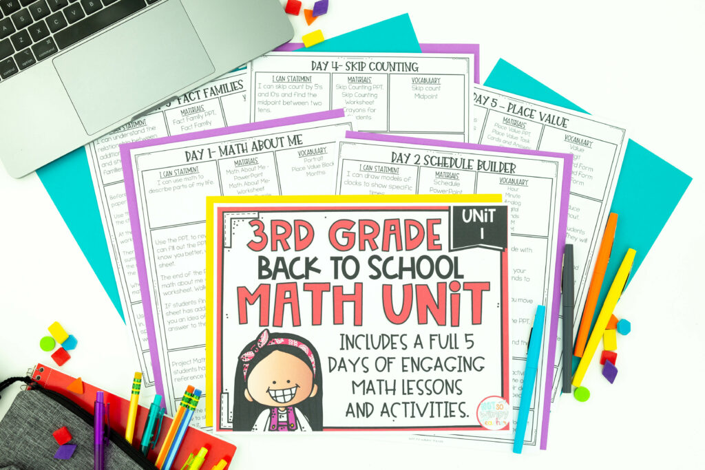 Cover page of third grade math curriculum back to school unit with lessons plans, flair pens and shapes I the background