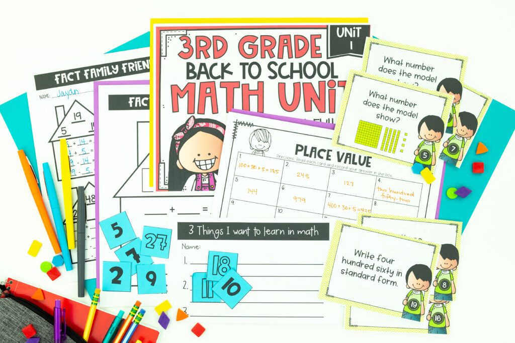Third Grade Back to School Math Unit printable including place value task cards, fact families and 3 Things I want to Learn in Math printable
