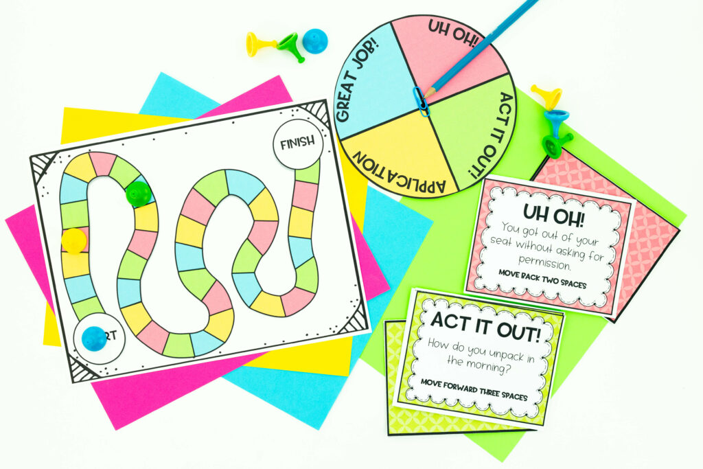 Back to school procedures with game board, spinner and cards
