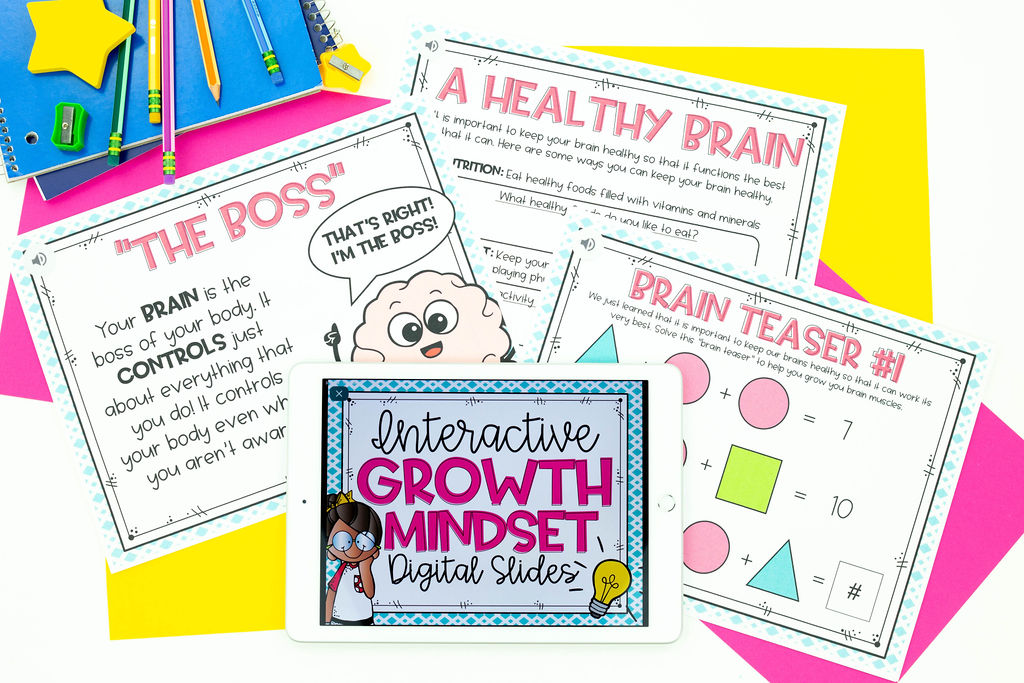 """Growth mindset activity on iPad with printable about the """"The Boss"""" brain, brain teasers, and a healthy brain"""
