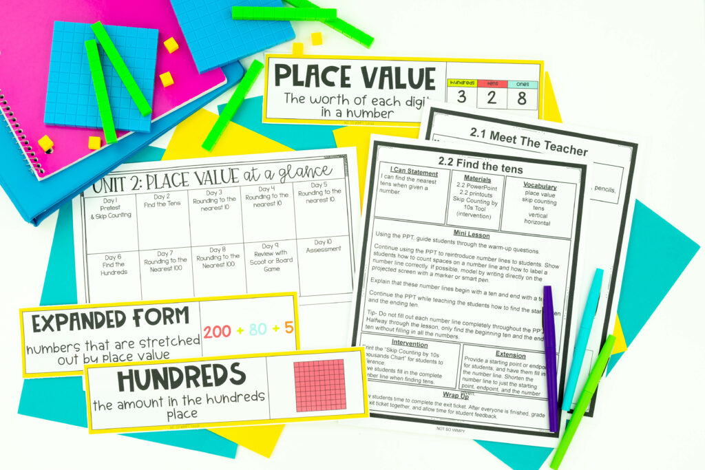 Third grade math curriculum place value unit showing at a glance schedule, lesson plans, meet the teacher plans, and vocabulary cards
